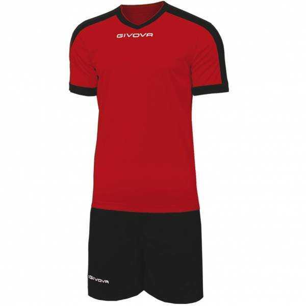 Givova Kit Revolution Fußball Trikot mit Shorts rot schwarz