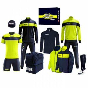 Zeus Apollo Fußball Set Teamwear Box 12-teilig Navy Neon Gelb