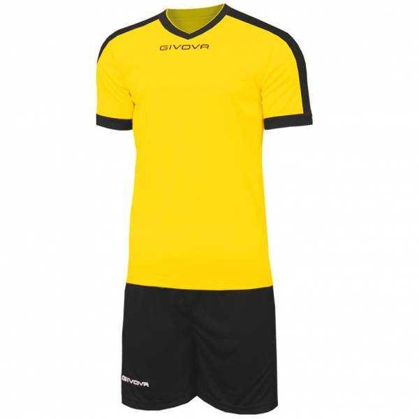 Givova Kit Revolution Fußball Trikot mit Shorts gelb schwarz